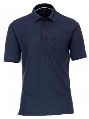 CASA MODA Ανδρική κοντομάνικη μακριά άνετη μπλέ πικέ πόλο μπλούζα