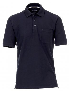 CASA MODA Ανδρική κοντομάνικη μακριά άνετη μαύρη πικέ πόλο μπλούζα