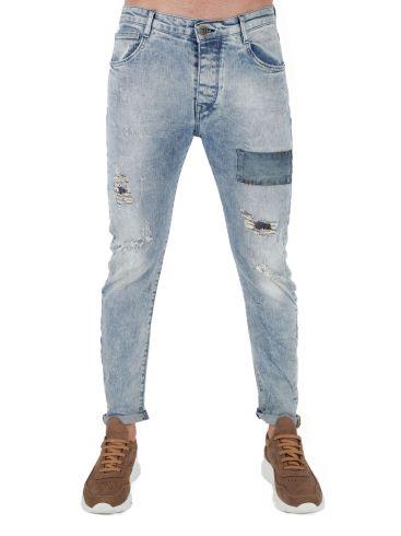 STEFAN Ανδρικό μαύρο skinny fit παντελόνι βράκα, αλυσίδα