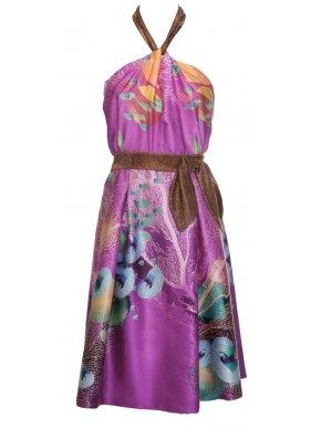 Μεταξωτό βραδινό-cocktail πολύχρωμο φόρεμα, δέσιμο λαιμού
