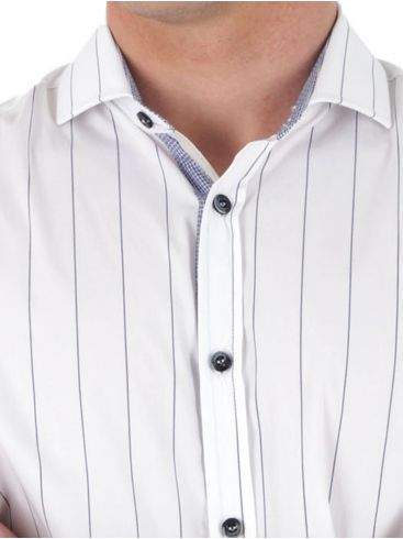 STEFAN Ανδρικό λαδί-λευκό ριγέ μακρυμάνικο slim fit πουκάμισο, μάο γιακά
