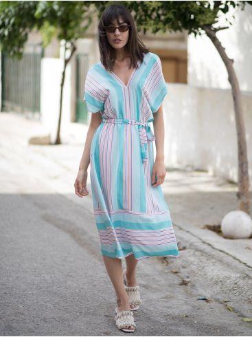 ESQUIVO Εμπριμέ μακρυμάνικο midi φόρεμα