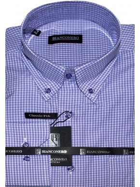BIANCONERO Λιλά-λευκό καρό πουκάμισο, κουμπιά γιακά