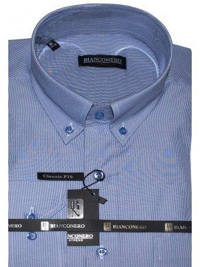 BIANCONERO Ανδρικό γαλάζιο ψιλόριγο μακρυμάνικο πουκάμισο