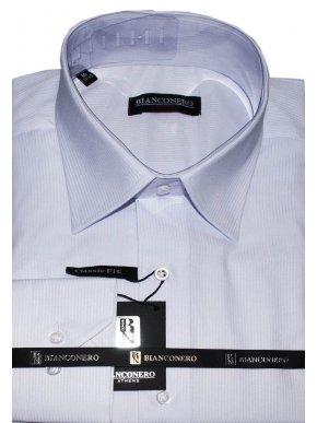 BIANCONERO Ανδρικό λιλά ριγέ μακρυμάνικο πουκάμισο