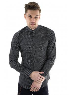 STEFAN Ανδρικό ασπρόμαυρο ελαστικό πουκάμισο, μάο γιακά