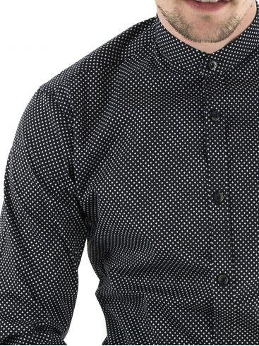 STEFAN Ανδρικό μαύρο μακρυμάνικο slim fit ελαστικό ασύμμετρο πουκάμισο