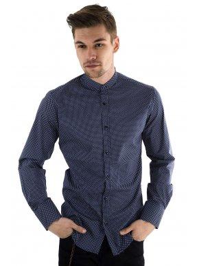 STEFAN Ανδρικό μπλέ-λευκό ελαστικό πουκάμισο, μάο γιακά