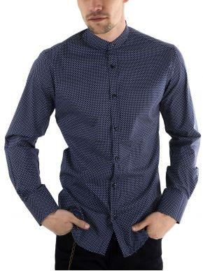 More about STEFAN Ανδρικό μπλέ-λευκό ελαστικό πουκάμισο, μάο γιακά