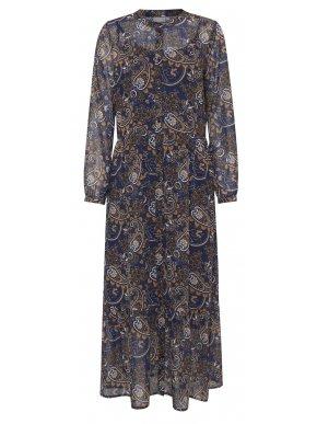 FRANSA Μακρυμάνικο maxi εμπριμέ μάο φόρεμα, περιλαμβάνεται εσωτερικό μεσοφόρι