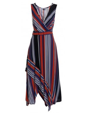 ALE Αμάνικο μακρύ ριγέ πολύχρωμο κρουαζέ ασύμετρο φόρεμα