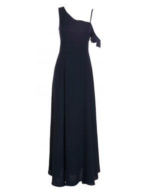 ATTRATTIVO Μaxi αμάνικο σατέν μπλέ φόρεμα, ένα ώμο, 92617839.