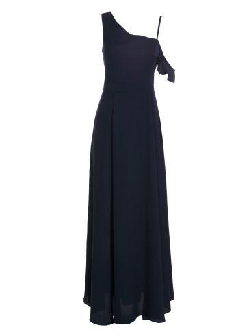 ATTRATTIVO Μaxi αμάνικο ανθρακί φόρεμα