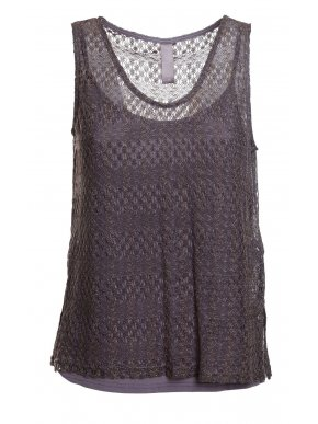 MissMASH! Ισπανικό αμπιγέ λαδί δαντελωτό μπλουζάκι λούρεξ