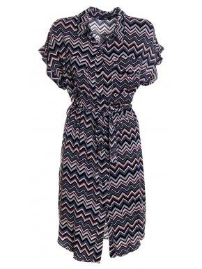 ZUIKI Ζακάρ robeκοντομάνικο φόρεμα με γιακά