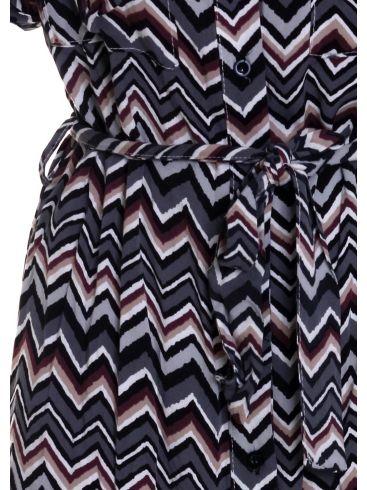 BIZZ Εμπριμέ μακρυμάνικο φόρεμα με γιακά