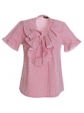 ZUIKI Γυναικείο Ιταλικό ρόζ ριγέ πουκάμισο, βολάν