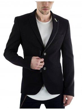 STEFAN Μαύρο ελαστικό μεσάτο σακάκι καπαρντίνας