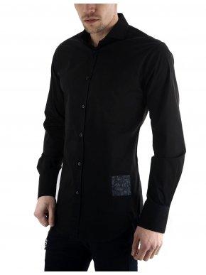 STEFAN Ανδρικό μαύρο μακρυμάνικο slim fit πουκάμισο μάο