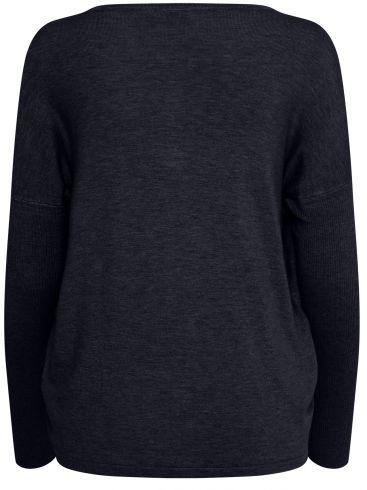 FRANSA Γυναικεία ψιλή πλεκτή γκρί μπλούζα
