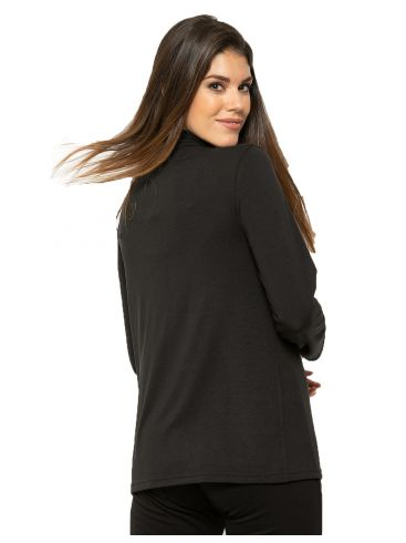 RAXSTA Γυναικεία άνθρακι μακρυμάνικη πλεκτή μπλούζα ντραπέ