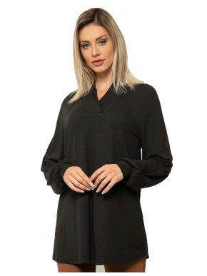 More about RAXSTA Γυναικεία άνθρακι μακρυμάνικη πλεκτή μπλούζα ντραπέ