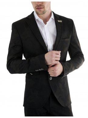 STEFAN Ανδρικό μαύρο μιλιτέρ ελαστικό μεσάτο σακάκι