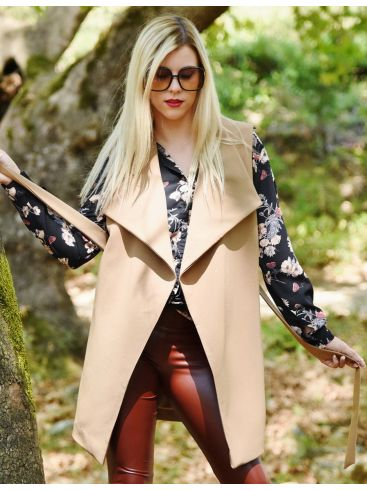 GR FASHION Γυναικεία ρόζ-γκρί ασύμμετρη ζακέτα, τσέπες μπροστά