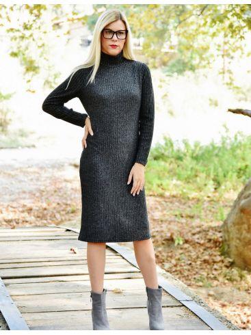 GR FASHION Ελαστικό καρό μαύρο φόρεμα με φόδρα