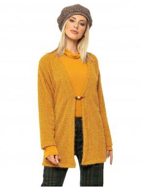 RAXSTA Γυναικεία κίτρινη μακριά πλεκτή μοχέρ ζακέτα