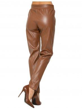 RAXSTA Γυναικείο ψιλοκάβαλο καφέ παντελόνι δερματίνης