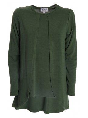 BRAVO Πράσινη μακρυμάνικη πλεκτή μπλούζα