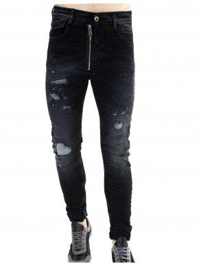 STEFAN Mαύρο hyperflex τζιν παντελόνι, λοξό φερμουάρ, μπαλώματα
