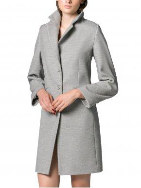 VETO Γυναικεία ασπρόμαυρη μακριά λούτρινη οικολογικη γούνα παλτό.