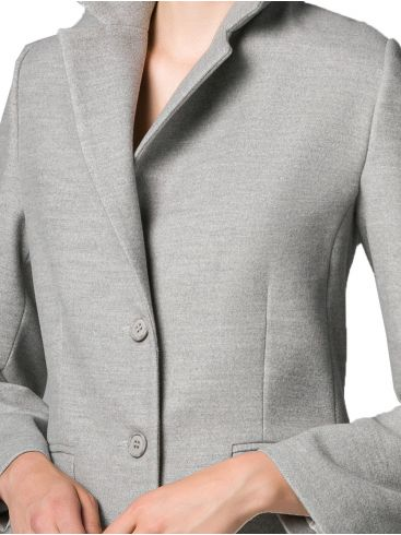 VETO Γυναικείo μακρύ γκρί παλτό, πέτο γιακά