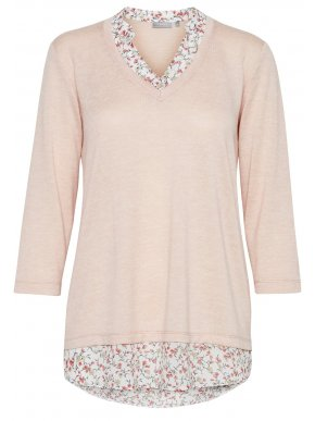FRANSA Γυναικεία ψιλή πλεκτή ρόζ μπλούζα 20607374