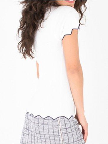 SMASH Ισπανική λευκή ανοιξιάτικη πλεκτή μπλούζα