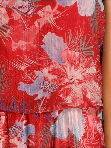 SMASH Ισπανικό πολύχρωμο μιλιτέρ φόρεμα, σατέν γιακά