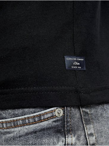 S.OLIVER Ανδρικό μαύρο μακρύ κομψό παλτό