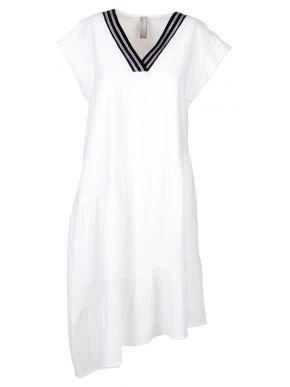 MisMASH Ισπανικό λευκό κοντομάνικο γκοφρέ φόρεμα