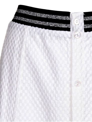 MiSMASH Γυναικεία κλοσαριστή γκοφρέ λευκή φούστα