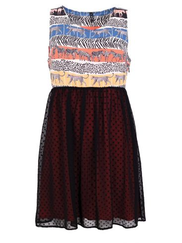 MisMASH Ισπανικό πολυχρώμο αμάνικο μίντι ελαφρύ φόρεμα