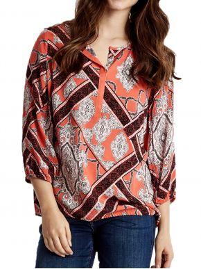 FRANSA Γυναικείο πορτοκαλί μακρυμάνικο πουκάμισο καφτάνι 20607067