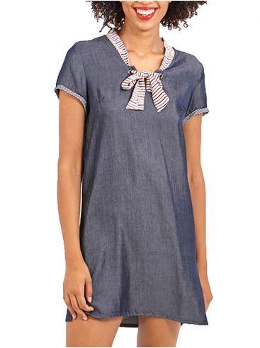 SMASH Ισπανικό μπλέ κοντομάνικο τζίν φόρεμα άλφα, γραβάτα