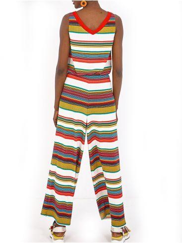 SMASH! Γυναικεία Ισπανική πολύχρωμη ριγέ ολόσωμη φόρμα παντελόνα