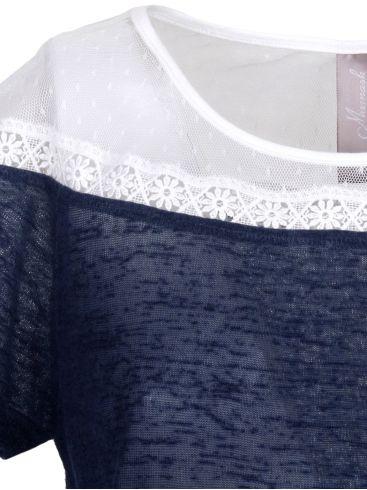 MiSMASH Ισπανικό γυναικείο μπλέ-λευκό ημιδιάφανο μπλουζάκι