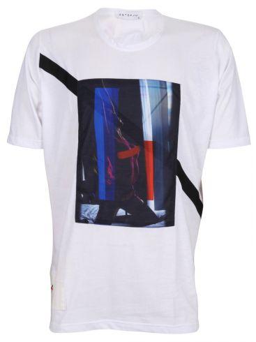 STEFAN Ανδρικό κοντομάνικο λευκό μπλουζάκι T-Shirt, στάμπα