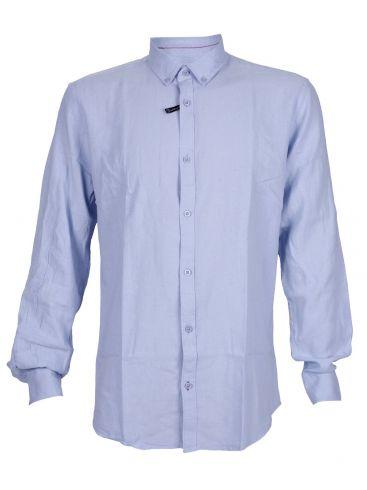 EXPLORER Ανδρικό γαλάζιο μακρυμάνικο λινό πουκάμισο, λινό-μετάξι