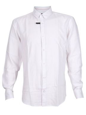 More about EXPLORER Ανδρικό λευκό μακρυμάνικο λινό πουκάμισο, λινό-μετάξι