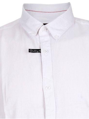EXPLORER Ανδρικό λευκό μακρυμάνικο λινό πουκάμισο, λινό-μετάξι